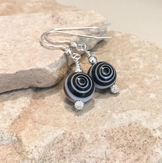 Black drop earrings, glass drop earrings, sterling silver earrings, silver dangle earrings, gift for her, gift for wife, everyday earrings