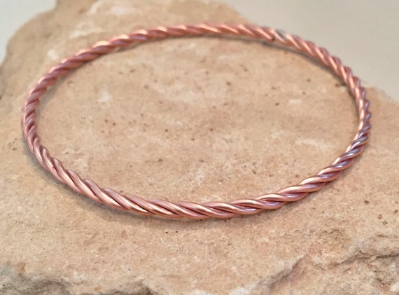 Copper bangle bracelet, twisted bangle bracelet, stackable copper bracelet, stackable bangle, simple copper bracelet, thin copper bracelet