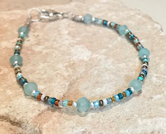 Multicolored bracelet, seed bead bracelet, chalcedony bracelet, sterling silver bracelet, sundance bracelet, gift for her, boho chic