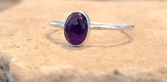 Sterling silver amethyst ring, gemstone ring, stackable rings, natural stone ring, sterling silver ring, February birthstone ring
