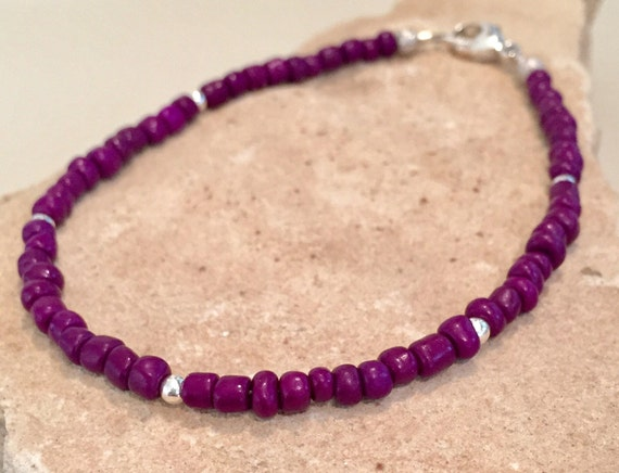 Purple seed bead anklet/ankle bracelet, sterling silver anklet, boho anklet, small anklet, seed bead anklet, gift for her gift for wife
