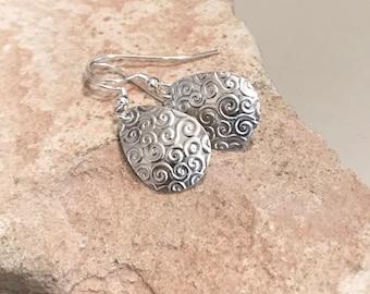 Sterling silver drop earrings, teardrop silver earrings, silver dangle earrings, handmade earrings, everyday earrings, gift for her, boho