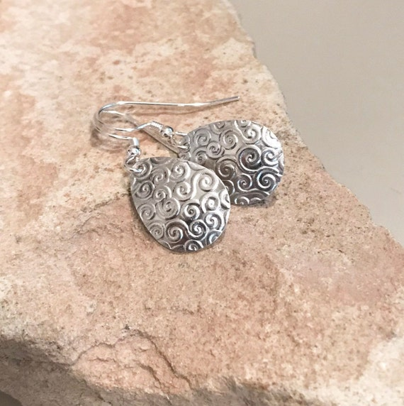 Sterling silver drop earrings, teardrop silver earrings, silver dangle earrings, handmade earrings, everyday earrings, gift for her, boho