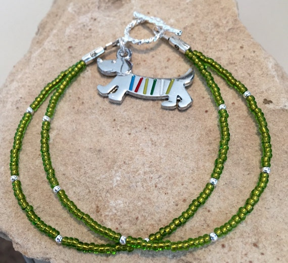 Green seed bead double strand bracelet, sterling silver bracelet, dog charm, bracelet for dog lover, animal lover bracelet, gift for her