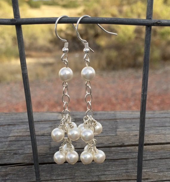 Pretty pearl and sterling silver dangle earrings, Swarovski earrings, dangle earrings, pearl earrings, sundance earrings, gift for her