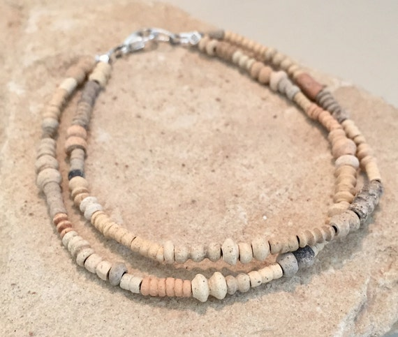 Natural double strand bead bracelet, Mali clay bead bracelet, sterling silver bracelet, double strand bracelet, unique bracelet, boho chic
