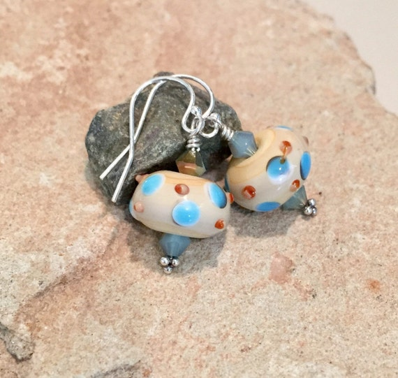 Blue and brown lampwork glass drop earrings, crystal bead earrings, drop earrings, sterling silver earrings, lampwork glass dangle earrings
