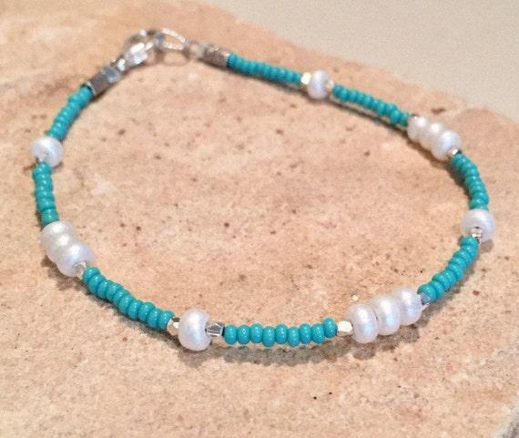 Turquoise Czech seed bead bracelet, boho bracelet, Hill Tribe silver bracelet, sterling silver bracelet, dainty bracelet, gift for her