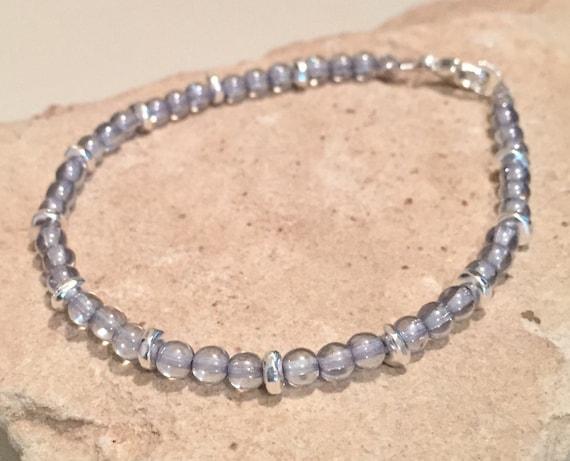 Blue bracelet, glass bead bracelet, sterling silver bracelet, small bracelet, sundance bracelet, fall bracelet, gift for her everyday chic