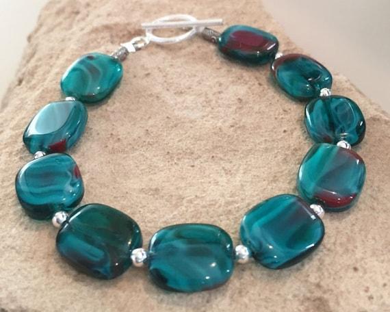 Green bracelet, blue bracelet, glass bracelet, sterling silver bracelet, Hill Tribe silver bracelet, chunky bracelet, unique bracelet