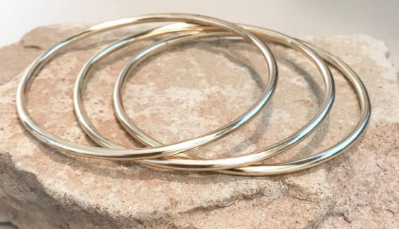 Brass bangle bracelets, round bangle bracelet, stackable brass bracelets, bangles, gift for her, gift for wife, simple bangle, boho chic