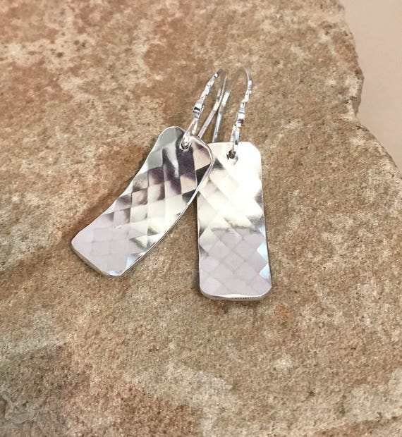 Pretty sterling silver drop earrings, handmade sterling silver earrings, sterling silver patterned earrings, unique earrings, drop earrings