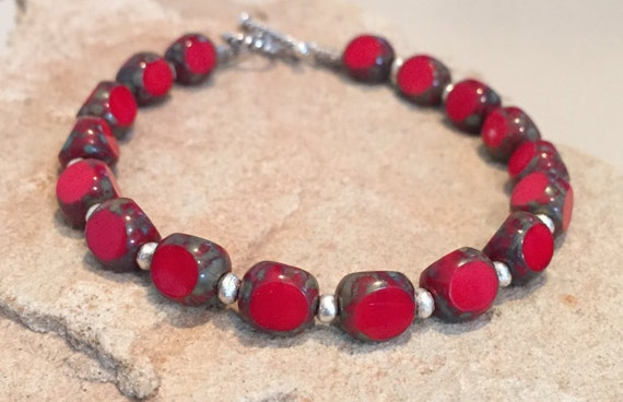 Red  bracelet, Czech bead bracelet, Hill Tribe silver bracelet, unique bracelet, statement bracelet, boho bracelet, gift for her, boho chic