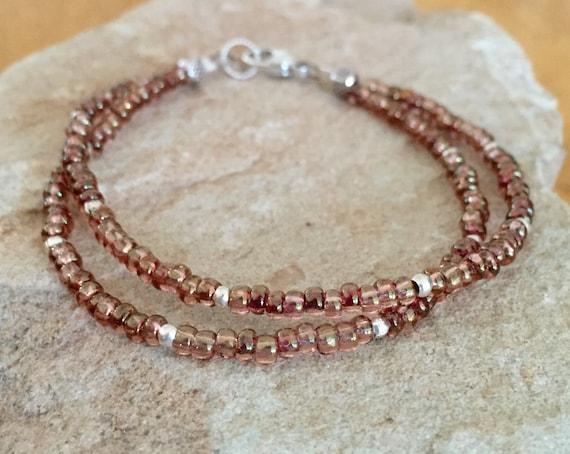 Rose topaz double strand seed bead bracelet, sterling silver bracelet, boho bracelet, dainty bracelet, brown bracelet, gift for her
