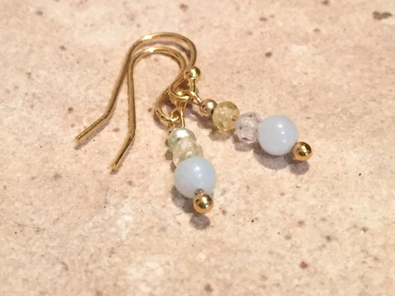 Green and gold drop earrings, Amazonite bead earrings, gold dangle earrings, sundance earrings, gold drop earrings, gift for her, boho chic