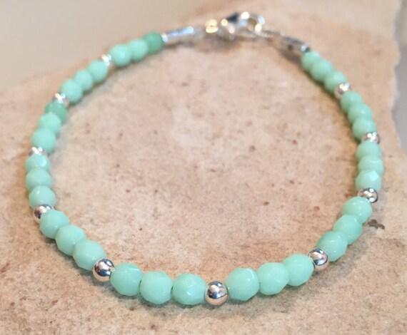 Green bracelet, firepolished faceted glass bead bracelet, sterling silver round bracelet, dainty bracelet, boho bracelet, gift for her