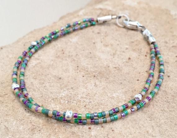 Purple and green seed bead bracelet, double strand bracelet, Hill Tribe silver bracelet, boho bracelet, dainty bracelet, gift for her