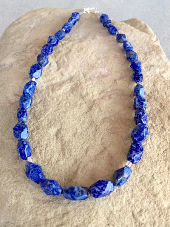 Blue necklace, lapis necklace, layering necklace, Hill Tribe silver necklace, sundance necklace, statement necklace, gift for her, boho chic