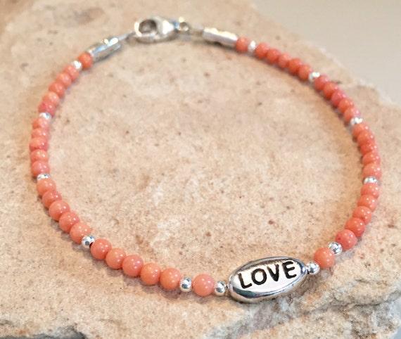 Peach bracelet, coral bead bracelet, sterling silver bracelet, message bracelet, charm bracelet, boho bracelet, gift for her, gift for wife