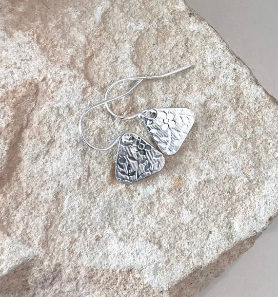 Sterling silver floral earrings, handmade sterling silver earrings, silver drop earrings, triange earrings, dangle earrings, boho earrings
