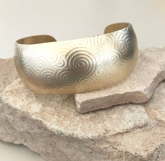 Brass or copper synclastic cuff bracelet, cuff bracelet, domed bracelet, fashion bangle, bangle bracelet, gift for her, gift for wife