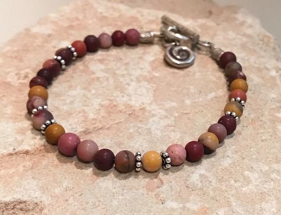 Red bracelet, gemstone bracelet, sundance bracelet, sterling silver bracelet, Hill Tribe silver bracelet, gift for her, charm bracelet