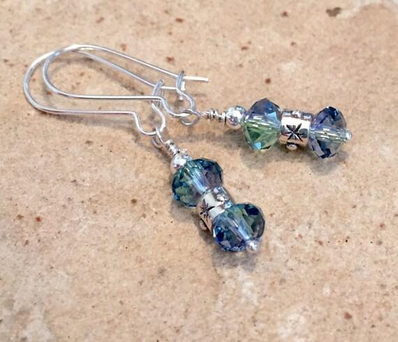 Sterling silver drop earrings, Swarovski earrings, crystal earrings, silver dangle earrings, blue earrings, blue dangle earrings, gift