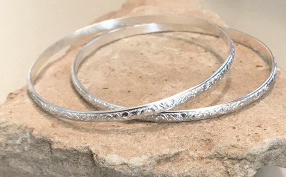 Sterling silver bangle bracelets, half round with pattern bangle bracelets, stackable sterling silver bracelets, sterling silver bangles