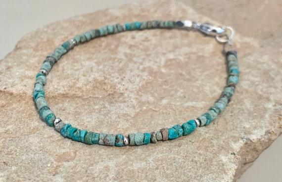 Turquoise bracelet, blue bracelet, green bracelet, Hill Tribe silver bracelet, everyday bracelet, dainty bracelet, boho chic bracelet