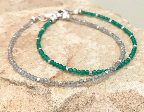 Green or gray bracelet, onyx bracelet, labradorite bracelet, Hill Tribe silver bracelet, single strand bracelet, sundance  bracelet