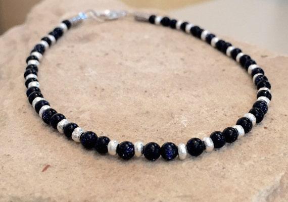 Blue bracelet, blue goldstone bracelet, Hill Tribe silver bracelet, gemstone bracelet, natural bracelet, boho style bracelet, gift for her