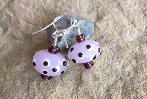 Pretty pink earrings, polka dot earrings, lampwork glass bead drop earrings, dangle earrings, everyday earrings, unique earrings, boho chic
