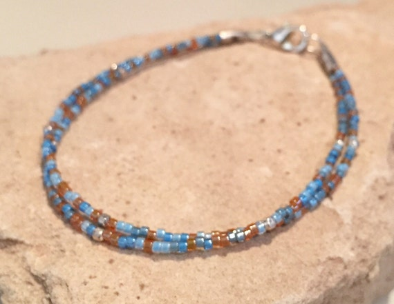 Blue and brown double strand bracelet, single strand seed bead bracelets, sterling silver bracelet, boho bracelets, gift for her, boho chic