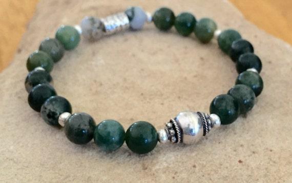 Green bracelet, agate bracelet, Hill Tribe silver bracelet, stretch bracelet, elastic bracelet, sundance  bracelet, gift for her, boho chic