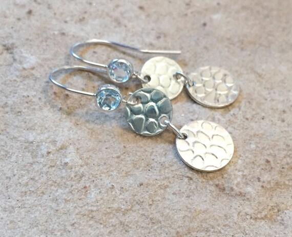 Pretty round sterling silver drop/dangle earrings, aquamarine earrings, sterling silver earrings, handmade sterling silver earrings