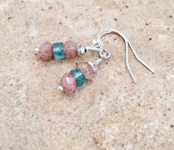 Sunstone and aquamarine drop earrings, Hill Tribe silver earrings, sterling silver earring, Sundance earrings, silver dangle earrings