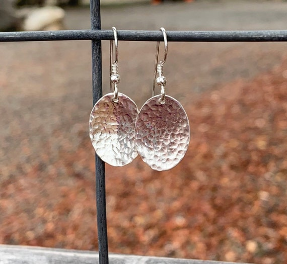 Pretty sterling silver drop earrings, handmade sterling silver earrings, hammered silver earrings, unique earrings, drop earrings, boho chic
