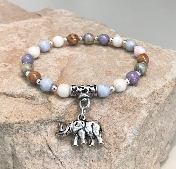 Multicolored bracelet, Czech glass bead bracelet, sterling silver bracelet, elephant charm, elephant bracelet, gift for elephant lover
