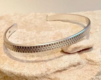 Sterling silver cuff bracelet, patina pattern cuff bracelet, stackable sterling silver bracelet, sterling silver cuff, minimalist bracelet