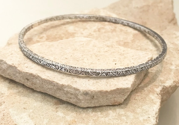 Sterling silver bangle bracelet, oxidized bangle bracelet, stackable sterling silver bracelet, sterling silver bracelet, silver bangle