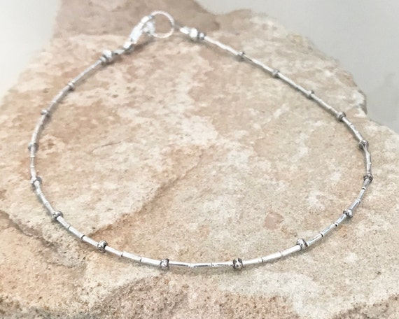 Sterling silver anklet, dainty anklet, anklet, fall jewelry, sundance anklet, gift for her, gift for wife, small anklet, gift for her, boho