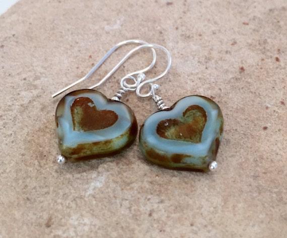 Blue and brown heart shaped drop earrings, Czech glass bead earrings, sterling silver earrings, heart dangle earrings, gift for her, boho