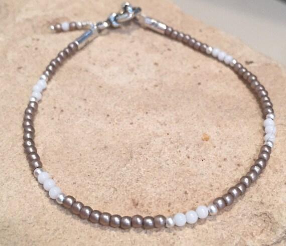 White and brown bracelet, jade bracelet, seed bead bracelet, sterling silver bracelet, charm bracelet, stackable bracelet, beach bracelet