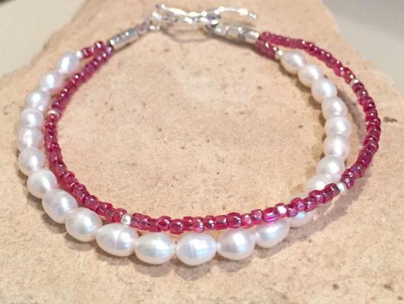 Pearl bracelet, seed bead bracelet, freshwater pearl bracelet, sterling silver bracelet, double strand bracelet, red bracelet, boho bracelet
