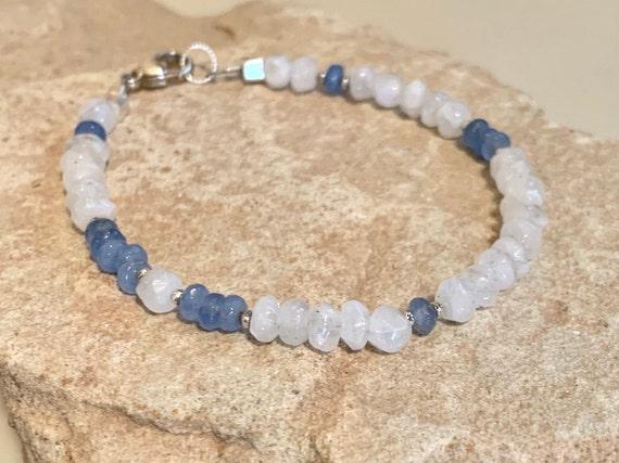 Moonstone bracelet, agate bracelet, blue bracelet, Hill Tribe silver bracelet, gemstone bracelet, boho style bracelet, everyday bracelet
