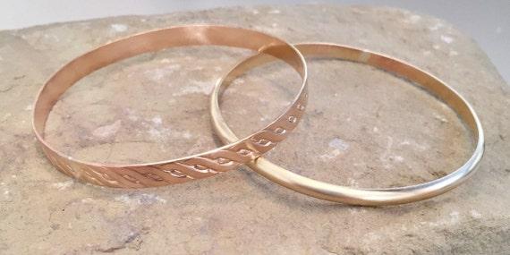 Brass bangle bracelets, half round bangle bracelet, pattern bangle bracelet, stackable brass bracelets, brass bracelets, gift for her