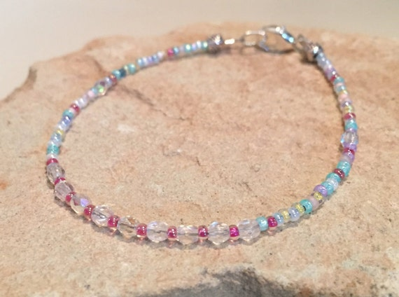 Multicolored seed bead bracelet, crystal bead bracelet, dainty bracelet, sterling silver bracelet, gift for her, gift for wife yoga bracelet