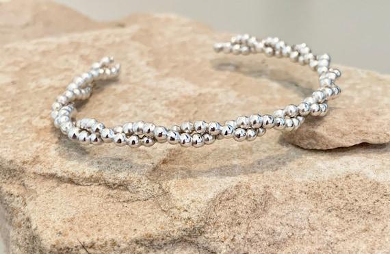 Sterling silver cuff bracelet, twisted cuff bracelet, stackable sterling silver bracelet, sterling silver cuff, bead cuff bracelet, gift