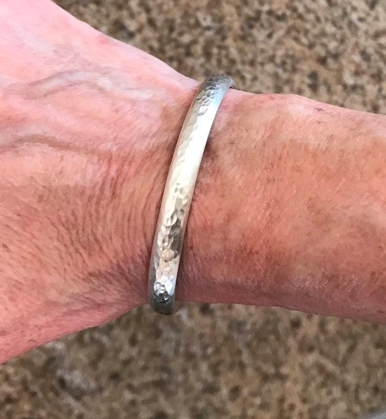 hammered bracelet stackable bracelet gift for her boho chic Sterling silver hammered cuff bracelet stackable sterling silver bracelet
