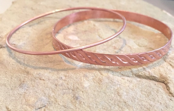 Copper bangle bracelets, round bangle bracelet, pattern bangle bracelet, stackable copper bracelets, simple bangles, gift for her